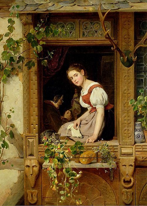 vasilyt:  August Friedrich Siegert (1820-1883) Dreaming on the Windowsill