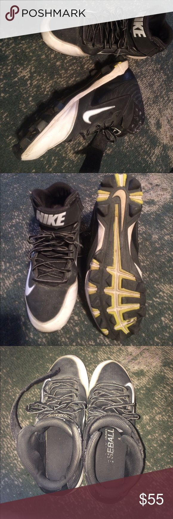 Nike high top cleats Grey &white 91/2 Nike Shoes Athletic Shoes