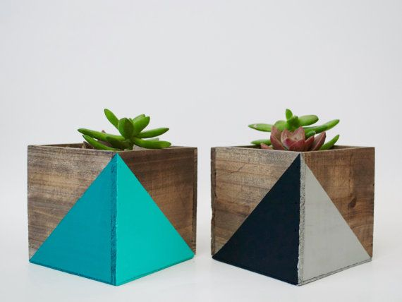 Geometric Painted Wood Planter with Succulent Kit! All natural wood planters with zinc inlay container. Approximately: 4 x 4  What you will