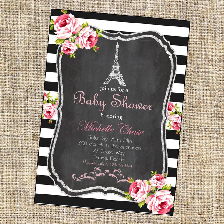 Items similar to Vintage Paris Shower Invitation