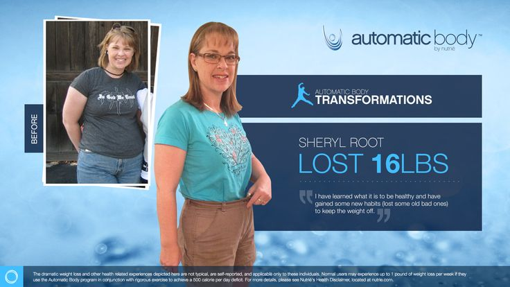 I'm so excited to be a finalist in the Automatic Body Transformation Contest. My Name is Sheryl Root and I have lost 16 pounds with help from the Automatic Body program.  CLICK HERE TO TRY OUT OUR APP FOR FREE AND SAMPLE OUR AMAZING PRODUCT:WWW.NUTRIESAMPLE.COM