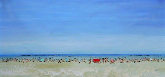Original Beach Painting Canvas Oil Painting Beach Scene Wall Art