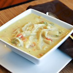 Perfect soup for a cold winter day!  Creamy chicken noodle soup adds cream of chicken soup and some milk to a basic soup to make it even more comforting!  Serve with crackers.