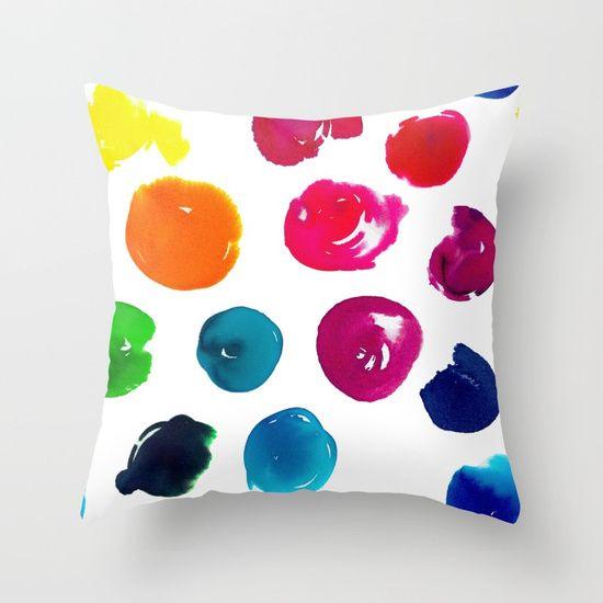 Watercolour Polka Dots Throw Pillow
