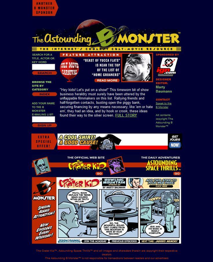 The Astounding B Monster website in 2000