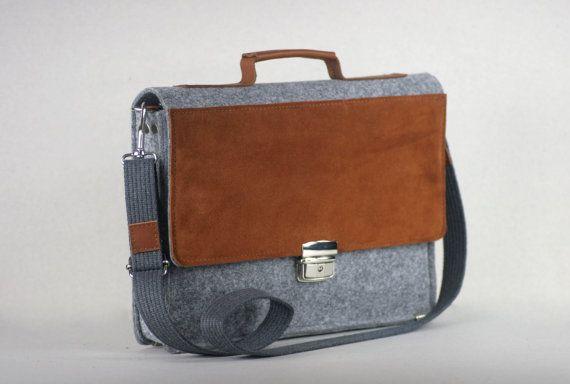 """FELT 13"""" MACBOOK BRIEFCASE, felt leather case, genuine leather, felt laptop bag, customized, MacBook case"""