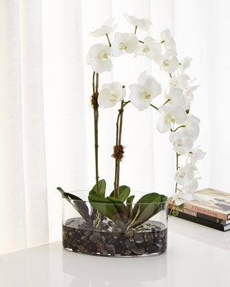 Orchids in Glass Faux-Floral Arrangement by Natural Decorations at Horchow.