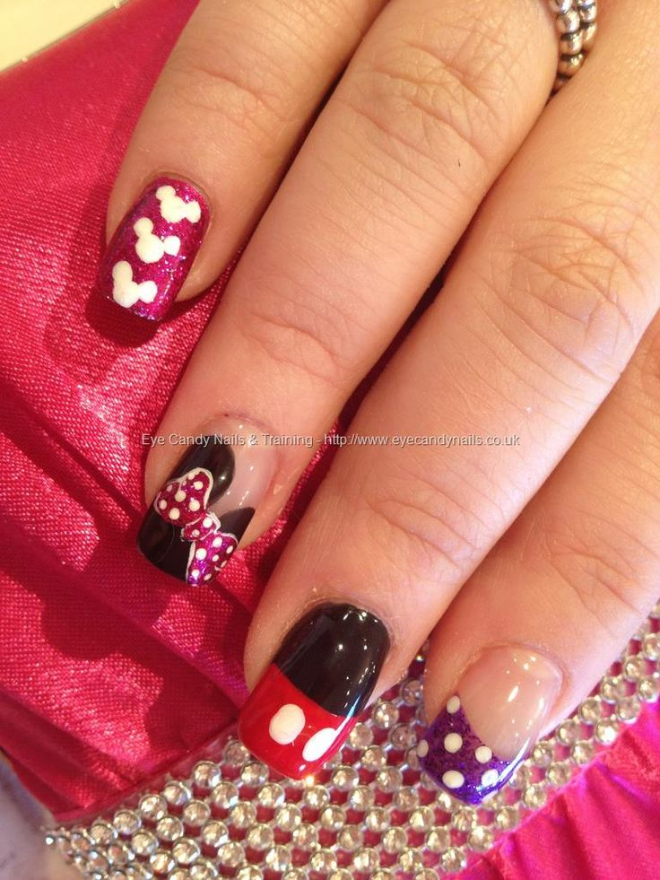 Minnie and Mickey Mouse Disney freehand nail art over acrylic nails @kaley Kelsey...do for Em's party this weekend, and then do it again for Disney this summer!