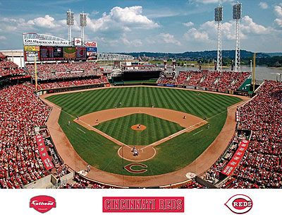 Great American Ball Park Mural With Reds Logos