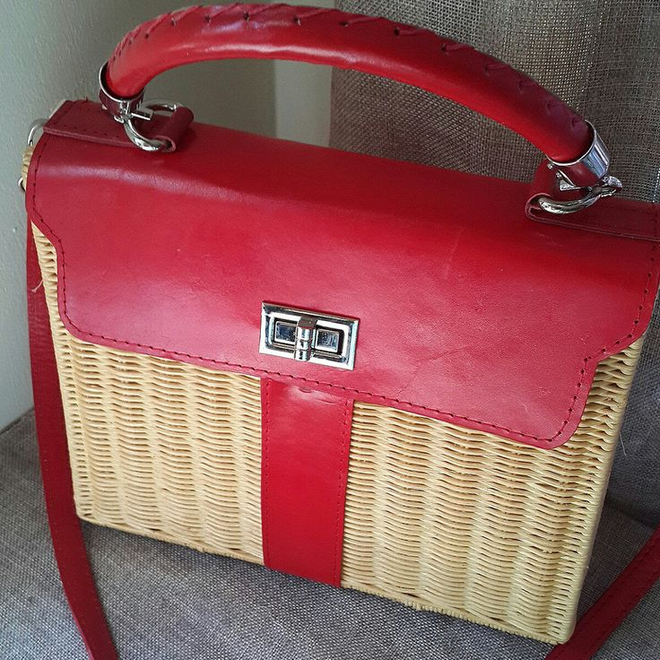 Red hermes wicker bag. 100% handmade from finest rattan. Handwoven and handstiched. Cow leather modification. Ready to ship!