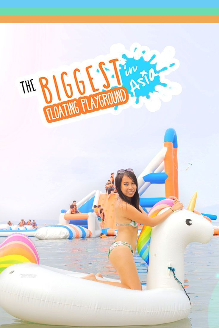 As Asia's BIGGEST floating water playground, Inflatable Island in the Philippines is both an insanely fun experience and an exciting challenge! via http://iAmAileen.com/inflatable-playground-water-playground-float-subic-philippines/ #water #summer #waterp