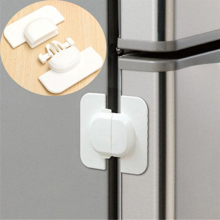 "Fridge latch features a press n' pull lock feature, adhesive backing and attractive styling. The ""lock out feature"" disables lock mechanism, and it's ideal for refrigerators, freezer doors, microwaves"