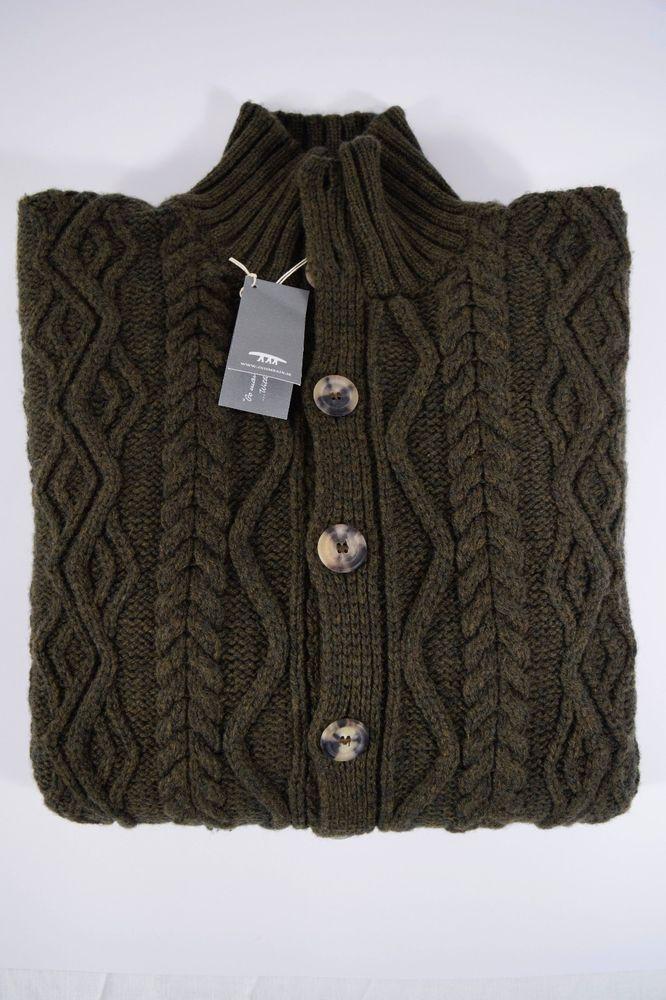 NWT INIS MEAIN maglione uomo BOMBER maglia LANA MERINO CASHMERE A/I tg. M-50(IT)