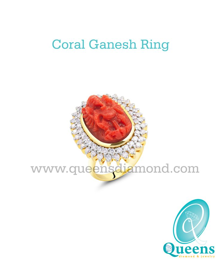 Coral Ganesh and Diamond Ring in 18K Gold