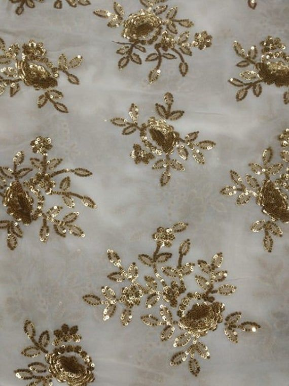 Dyeable Georgette Sequins Work Floral Design Fabric By Yard