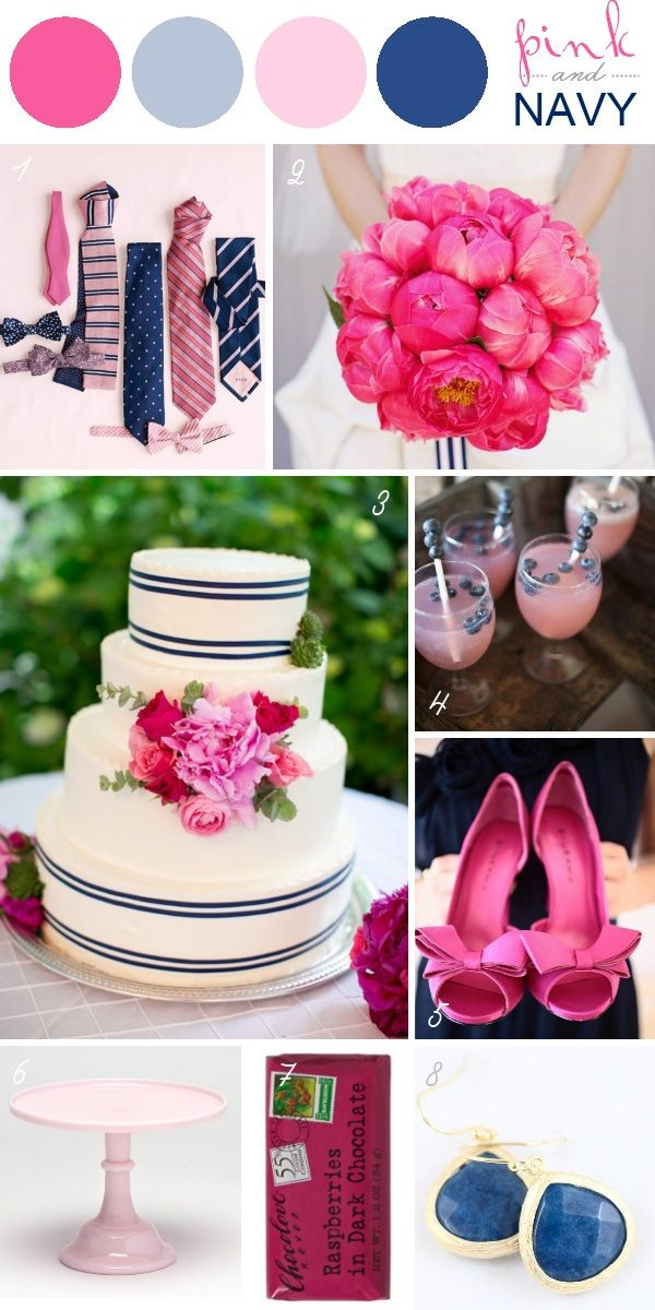 Wedding Color Schemes - Pink and Navy  not pink as a main accent but i really like this cake...