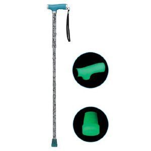 Drive Medical Folding Canes with Glow Grip Handle, Silver Mist by Drive Medical. $20.73. Manufactured with sturdy extruded aluminum tubing. Comes with plastic clip to hang cane when folded. Cane folds into 4 convenient parts for easy storage. Handle and tip glow in the dark. Handle height adjusts from 33 inches to 37 inches. The new silver mist folding cane with glow grip handle series by Drive Medical is one of a kind. The silicone gel glow grip handle and ti...