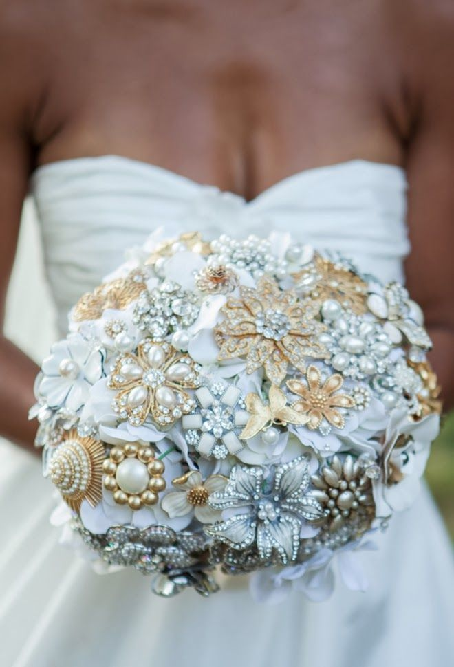 White + gold brooch bouquet ~ Matt Andrews Photography