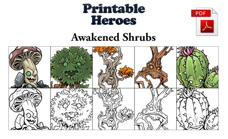 Just uploaded the Free version of the Awakened Shrub paper miniatures here: PrintableHeroes_AwakenedShrubs_Free.pdf And as always, if you like what I do you can check out my Patreon page here. Thanks!