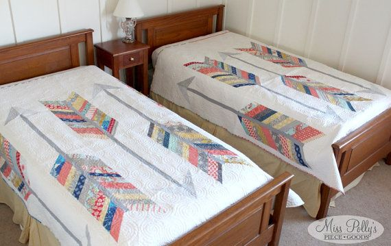 Patchwork bedding with arrows - such an awesome idea!