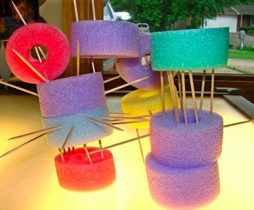 pool noodle sculptures. great idea for fine motor skills.