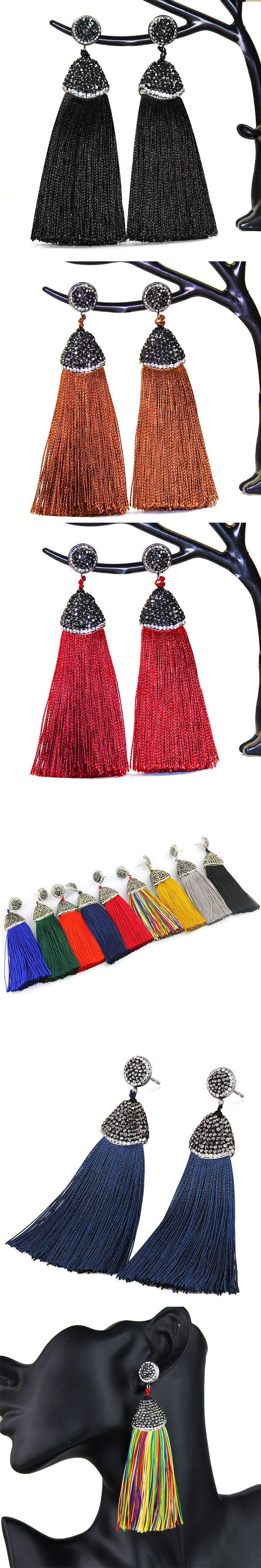 Bohemia Crystal Silk Tassel Earrings Handmade High Quality Black Burgundy Long Drop Tassel Dangle Earrings For Women Jewelery