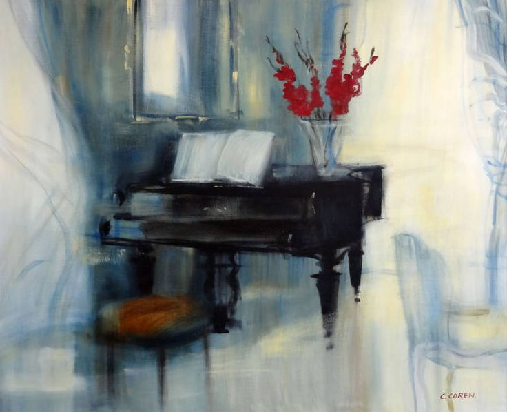 Le Tabouret Rouge (Piano) | From a unique collection of interior paintings at https://www.1stdibs.com/art/paintings/interior-paintings/ Catherine Coren Le Tabouret Rouge (Piano)  Offered By Chetkin Gallery  $9,600