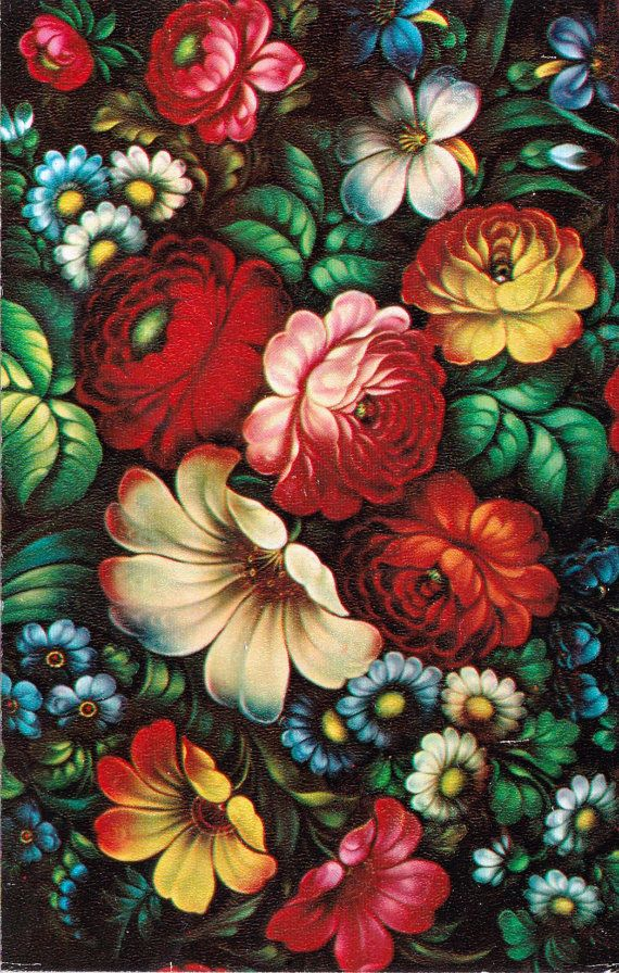 Zhostovo painting is an old Russian folk handicraft of painting on metal trays, which still exists in a village of Zhostovo in the Moscow Oblast. It appeared in the early 19th century mainly under the influence of the Ural handicraft of flower painting on metal.