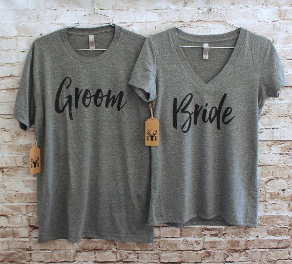 Bride & Groom Shirt Set - Bride Shirt - Groom Shirt Our shirts are made of triblend fabric and are super soft. The ladies v-neck shirts are slim