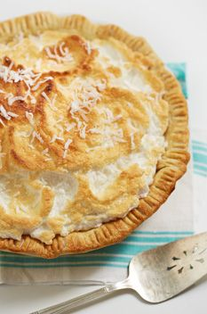 {Duck Dynasty Coconut Cream Pie} Tender, flaky crust filled with a rich custardy coconut filling, topped with meringue.