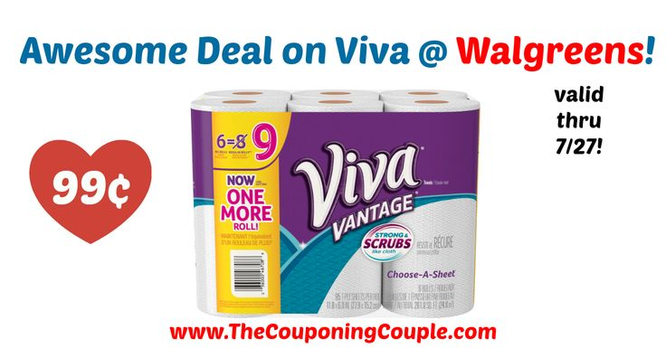 Hurry to pick up this HOT deal through tomorrow 7/27! WOW! Viva Vantage Paper Towels 6 Rolls Only 99¢ @ Walgreens!  Click the link below to get all of the details ► http://www.thecouponingcouple.com/wow-viva-vantage-paper-towels-6-rolls-only-99%c2%a2-walgreens/ #Coupons #Couponing #CouponCommunity  Visit us at http://www.thecouponingcouple.com for more great posts!