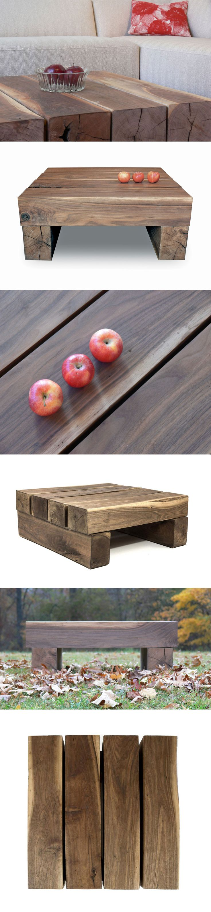 The SHIMNA Beam Coffee Table, made from raw walnut beams with no hardware. It's like a giant Jenga set.