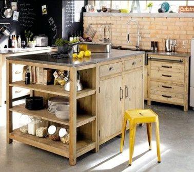 Assembler deux meubles de cuisine pour en faire qu'un et obtenez ce genre d'îlot de cuisine.
