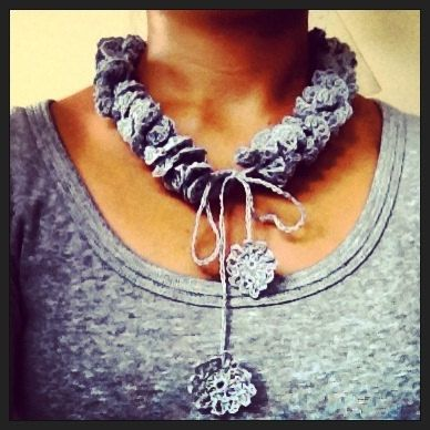 OOAK Statement Necklace Handmade Linen Crochet Silver by LOLAsHome, $24.00
