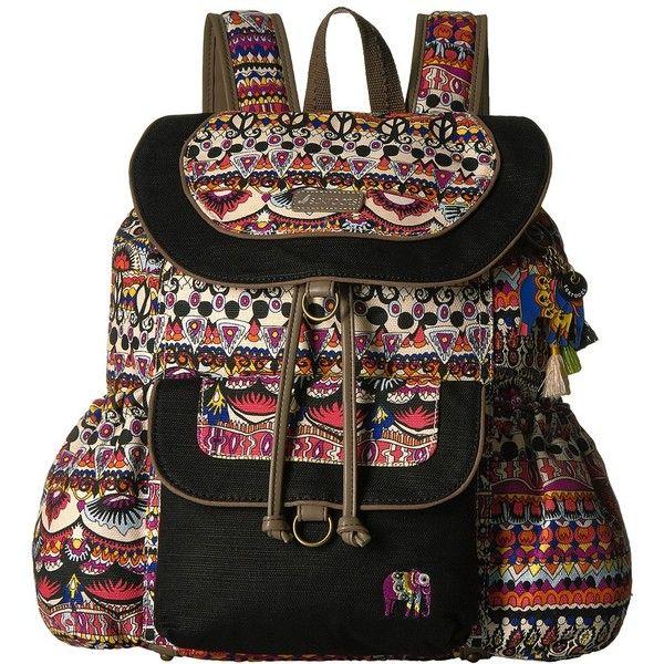 Sakroots Sakroots Artist Circle Flap Backpack (Camel One World)... ($61) ❤ liked on Polyvore featuring bags, backpacks, strap backpack, print backpacks, drawstring flap backpack, canvas drawstring backpack and camel backpack