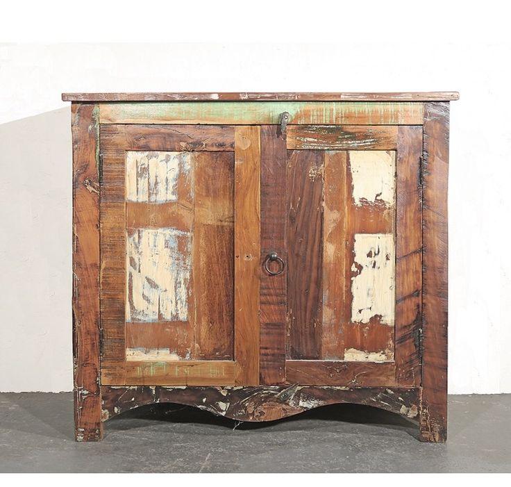 Online Erhältlich: Vintage Recycleholz Kommode Aus Indien Mit Zwei Türen  Und Einer Ablage.