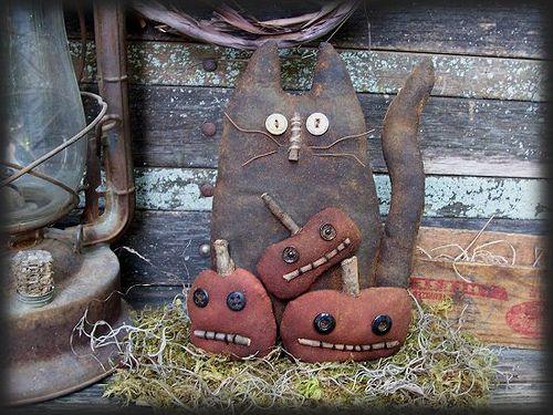 primitive cats | Primitive Halloween Black Cat and Pumpkin guys | Flickr - Photo ...