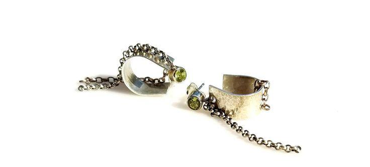 Silver Peridot Post Earrings Edgy Dangle Hoop Earrings August Birthstone Jewelry Peridot & Silver Dangle Hoop Chain Earrings Silver Earrings by NatalieCara on Etsy