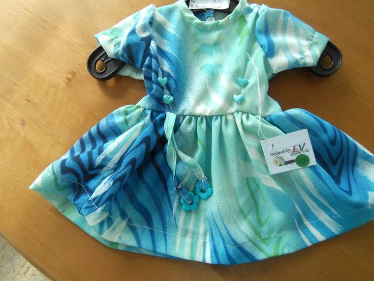 Puppenkleidung - Kleid für Baby Annabell in grün-blau-Tönen - ein Designerstück von elknorz bei DaWanda