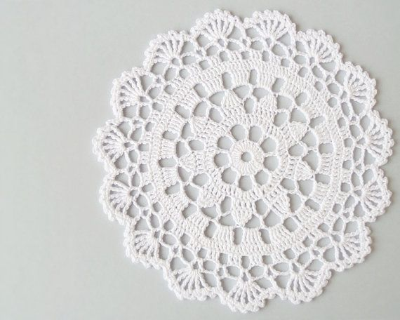 White lace doily table decoration crochet tea by DiaCrochets