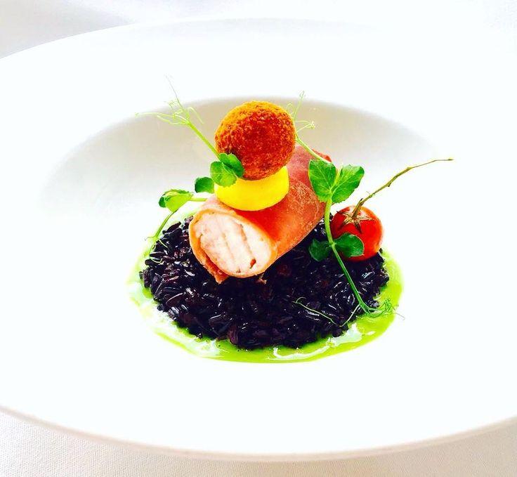 "Marco Tola @marco_tola_chef ""Involtino di prosciutto e pesce spada riso Venere crema di di aglio orsino pomodorino confit crocchetta di pesce spada"" #chefemaitre #giblorsivrea #pescespada #swordfish #rice #risovenere #fishfood #seafood #amazing #yummy #delicious #artfood #photofood #luxuryfood #instafood #italychef #italianstyle #italianfood #healthyfood #theartofplating #foodie #foodart #foodgasm #foodstyling #gourmet #gourmetfood #gourmetartistry #gastroart #gastroartistry by chefemaitre"
