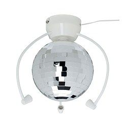 IKEA - DANSA, Disco ball with LED light,  ,  , , Lights up your child's room and transforms it into a disco, with a unique atmosphere for fun birthday parties.Uses LEDs, which consume up to 85% less energy and last 20 times longer than incandescent bulbs.Three colored gooseneck spotlights change colors automatically as the disco ball rotates and reflects light onto the walls.The long cord allows you to choose to mount the disco ball in the ceiling at the center of the room or at a side.