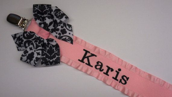 Pacifier Holder Baby Boy or Girl Personalized great by LilMamas, $8.25