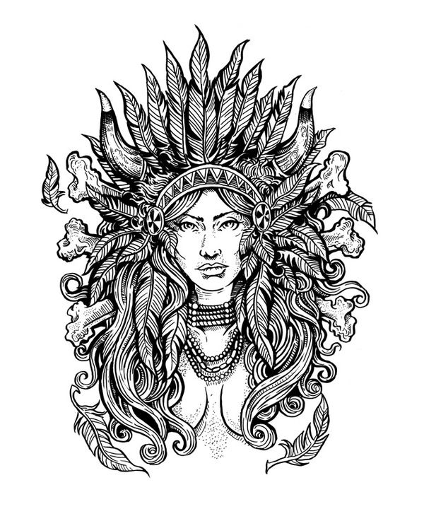 Native American Difficult Coloring Pages   Native Beauties ...
