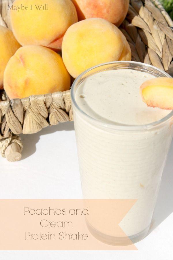Peaches and Cream Protein Shake!! Super creamy and delicious... the perfect peach to cream ratio! #peachesandcream #proteinshakes #healthy
