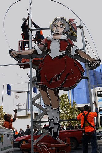 The heritage-listed Skipping Girl Vinegar sign in the Melbourne suburb of Abbotsford, Victoria, Australia. The sign was re-illuminated after sitting in darkness for 8 years. 2009.  Skipping Girl |via  Flickr - Mimmo Cozzolino