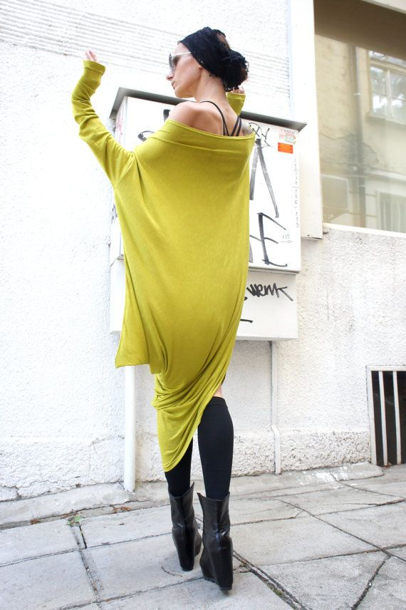 Oversize Neon Loose Casual Top / Asymmetric Raglan Long Sleeve Tunic One Size / Maxi Blouse on Etsy, $86.28 CAD