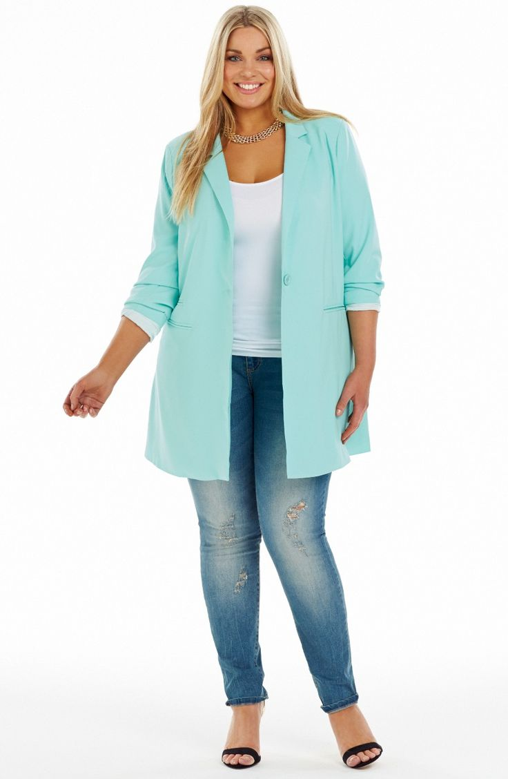 Longline Jacket/Aqua Style No: JK11117 Summer Twill Fully Lined Jacket. This long Line Jacket has a single button front and lapels. It has long sleeves and mock welt pockets. The back has a centre split at the hemline.  #plussize #dreamdiva #dreamdivafiles