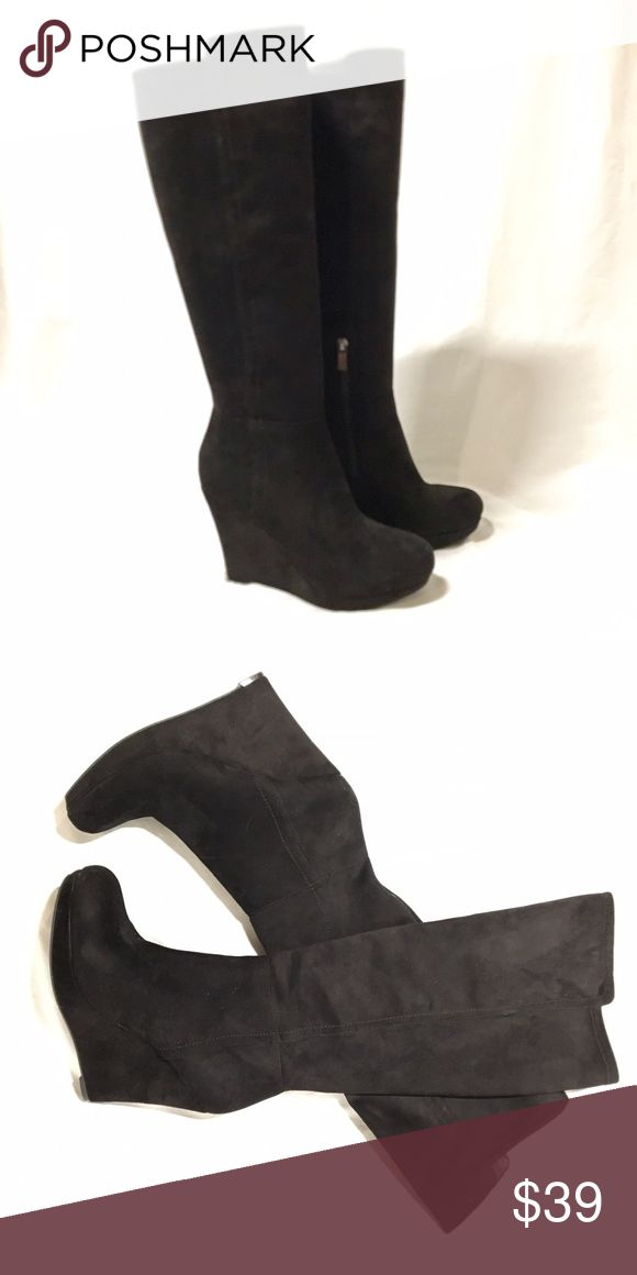 """Sexy knee high wedge boot (only wore once!) Stretch Micro Suede Fabric Imported Synthetic sole Shaft measures approximately 18"""" from arch Heel measures approximately 4"""" Platform measures approximately 0.75 inches Slouchy knee-length boot with tonal wedge and platform with interior zip Jessica Simpson Shoes Over the Knee Boots"""