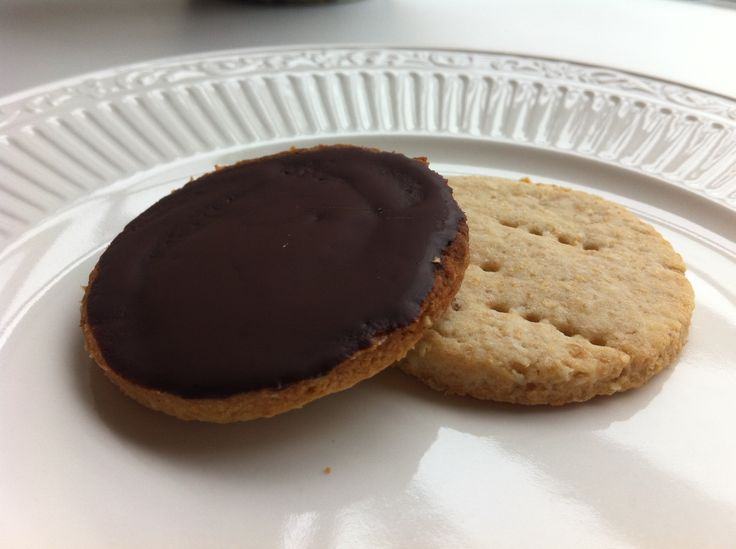 Taking a cue from the popular English biscuit brand McVities, these whole wheat digestive biscuits are covered on one side by dark chocolate.